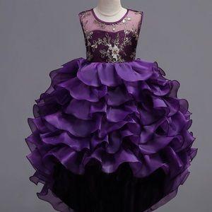 💜New Purple Satin Ruffle Pageant Bridesmaid Dress